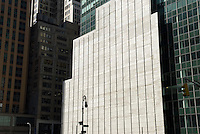 Urban Landscape - Office Buildings and White Wall at a Construction Site on Sixth Avenue in Midtown Manhattan, New York City, New York State, USA
