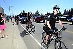 Seattle Police Department sent officers on bike ahead of a campaign stop and rally by Republican Presidential Candidate Donald Trump in Lynden, Washington at the Northwest Washington Fairgrounds Saturday May 7, 2016. The small town of about 12,000 people is located two hours north of Seattle. Photo by Daniel Berman/www.bermanphotos.com