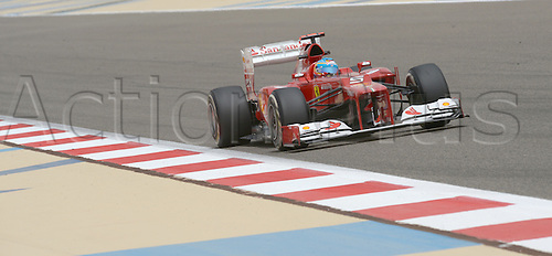 20.04.2012 Spanish Formula One driver Fernando Alonso of Ferrari steers his car during the first practice session on the Bahrain International Circuit in Sakhir, near Manama, Bahrain.