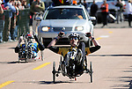 May 20, 2011 Colorado Springs, CO.   Army cyclist, Justin Minyard, celebrates his victory in the recumbent 20K at the 2011 Warrior Games  at the U.S. Air Force Academy, Colorado Springs, CO...