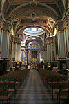 Nave and altar inside Saint Francis of Assisi Church interior, Valletta, Malta