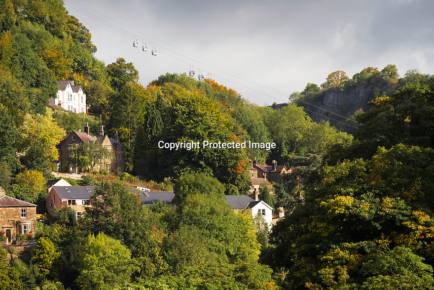 25/09/1<br /> <br /> With a weekend of good weather forecast, the spectacular autumn colours surrounding Matlock Bath and the cable cars to The<br /> Heights of Abraham in the Derbyshire Peak District are illuminated by bright sunlight this morning.<br /> <br /> All Rights Reserved: F Stop Press Ltd. +44(0)1335 418365   +44 (0)7765 242650 www.fstoppress.com