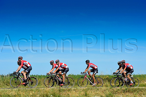 July 17th 2017, Le Puy en Velay, France;  SIEBERG Marcel (GER) Rider of Team Lotto - Soudal, DE GENDT Thomas (BEL) Rider of Team Lotto - Soudal, GREIPEL Andre (GER) Rider of Team Lotto - Soudal, BAK Lars Ytting (DEN) Rider of Team Lotto - Soudal and BENOOT Tiesj (BEL) Rider of Team Lotto - Soudal pictured during rest day 2 of the 104th edition of the 2017 Tour de France cycling race in Le Puy-En-Velay