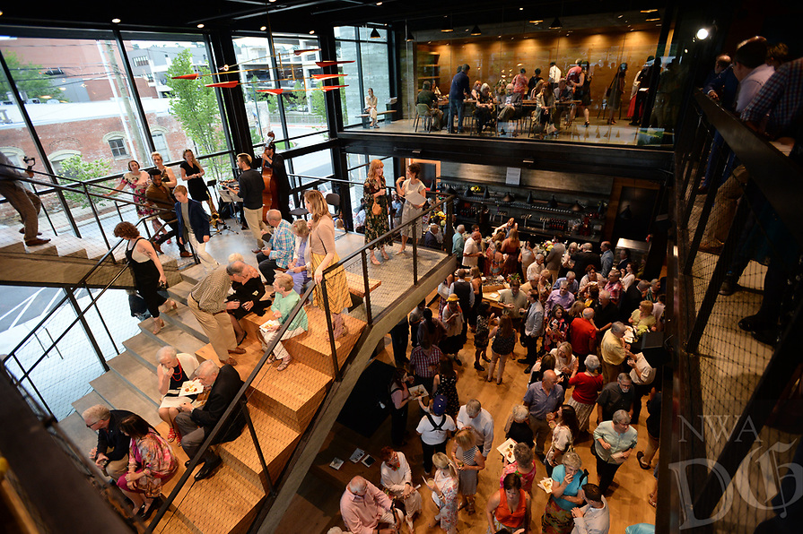 "NWA Democrat-Gazette/ANDY SHUPE<br /> Thursday, Aug. 8, 2019, during a tour of the new TheatreSquared facility in Fayetteville. The main building houses two theaters, a rehearsal room, offices, education and community space, design workshops and a cafe and bar. A separate building to the south has eight guest-artist apartments. Outdoor areas include a patio on Spring Street, a second-level terrace on West Avenue and a rooftop deck. The theater company opens its new venue with a production of ""Shakespeare in Love"" beginning Aug. 14. Visit nwadg.com/photos to see more photographs from the tour."