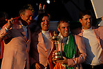 Irish members, Darren Clarke, vice-captain Des Smyth,  Paul McGinley and Padraig Harrington, part of the victorious European Team, hold the Ryder Cup during the closing ceremony of the 2006 Ryder Cup at The K Club..Photo: Eoin Clarke/Newsfile.