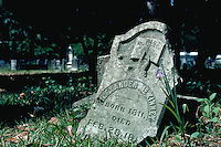 Grave marker (headstone) in Old Protestant Cemetery, St. Augustine. Saint Augustine, Florida.