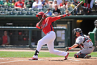 Ronald Castillo #47 of the Peoria Chiefs swings against the Great Lakes Loons at Dozer Park on July 28, 2014 in Peoria, Illinois. The Loons won 4-0.   (Dennis Hubbard/Four Seam Images)