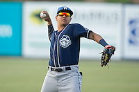Yonathan Daza (2) of the Asheville Tourists warms up in the outfield prior to the game against the Kannapolis Intimidators at Kannapolis Intimidators Stadium on May 26, 2016 in Kannapolis, North Carolina.  The Tourists defeated the Intimidators 9-6 in 11 innings.  (Brian Westerholt/Four Seam Images)