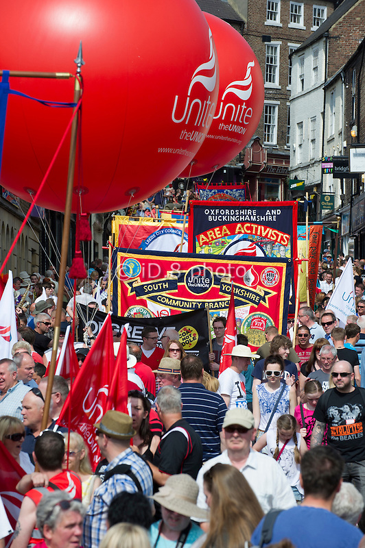 Unite members march through Durham at the 2013 Miner's Gala