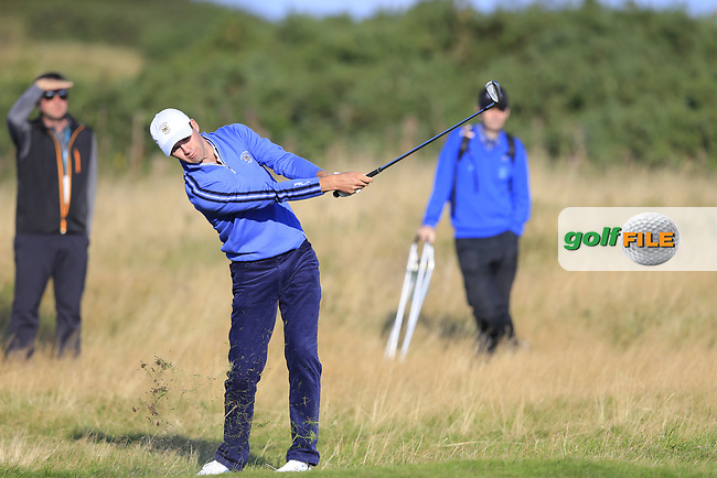 Alex Smalley (USA) on the 5th fairway during the final day foursomes matches at the Walker Cup, Royal Liverpool Golf Club, Hoylake, Cheshire, England. 08/09/2019.<br /> Picture Fran Caffrey / Golffile.ie<br /> <br /> All photo usage must carry mandatory copyright credit (© Golffile | Fran Caffrey)