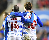 31st October 2017, Madejski Stadium, Reading, England; EFL Championship football, Reading versus Nottingham Forest; Sone Aluko of Reading congratulates John Swift of Reading and Sone Aluko of Reading, the two goal scorers for Reading