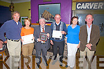 Pictured at the Waterville Tidy Towns presentation to the best private residences were l-r; Brendy Donnelly(Chairman), Elaine Foley -2nd, Michael Murphy -1st, Michael & Colette  Fitzgerald - 3rd and Pat Everett(Waterville Tidy Towns).