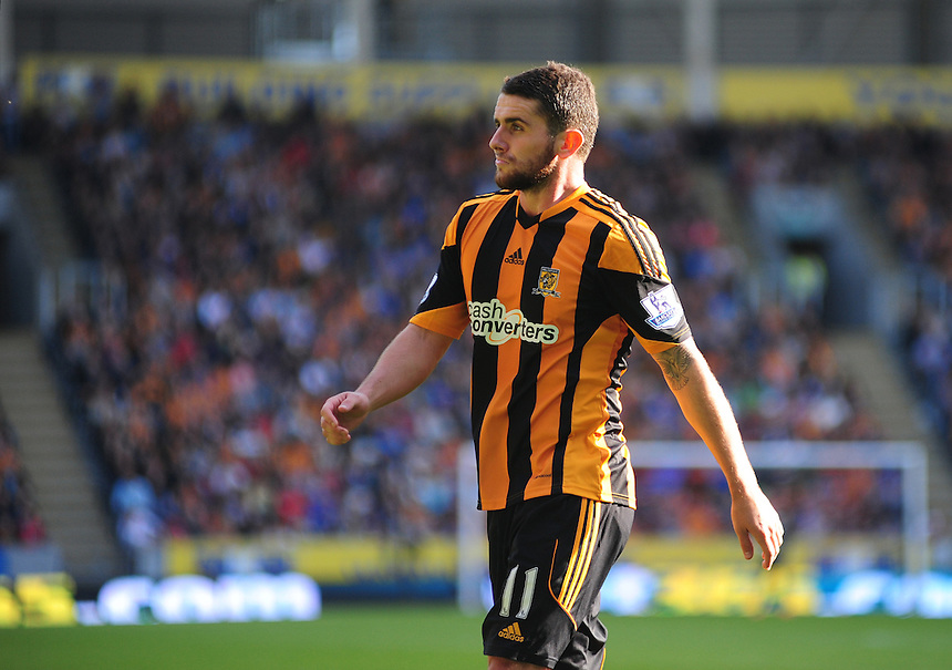 Hull City's Robbie Brady <br /> <br /> Photo by Chris Vaughan/CameraSport<br /> <br /> Football - Barclays Premiership - Hull City v West Ham United - Saturday 28th September 2013 - Kingston Communications Stadium - Hull<br /> <br /> &copy; CameraSport - 43 Linden Ave. Countesthorpe. Leicester. England. LE8 5PG - Tel: +44 (0) 116 277 4147 - admin@camerasport.com - www.camerasport.com