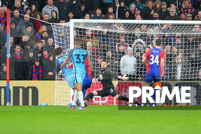 Manchester City's Leroy Sane scores to make the scoreline 2-0 during the FA Cup fourth round match between Crystal Palace and Manchester City at Selhurst Park, London, England on 28 January 2017. Photo by PRiME Media Images / Steve McCarthy.