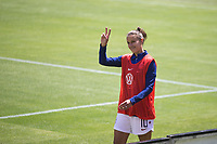 Santa Clara, CA - Sunday May 12, 2019: Carli Lloyd waves at fans while warming up on the sidelines during the women's national teams of the United States (USA) and South Africa (RSA) play in an international friendly match at Levi's Stadium.