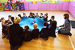 The junior infants of St. Brigid's Girls National School enjoy a game prior to receiving their Music Matters Certificates. Photo: Andy Spearman. www.newsfile.ie