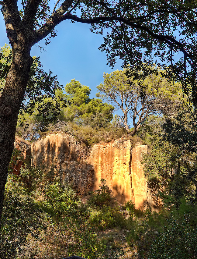 A view of a section of the Bibemus Quarries (near Aix-en-Provence, Provence, France) that is the subject of a number of Cezanne paintings.