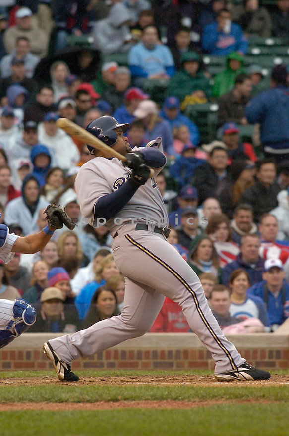Prince Fielder, of the Milwaukee Brewers, during their game against the Chicago Cubs. in Chicago on April 28, 2006..Cubs win 6-2..Chris Bernacchi / SportPics