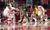 NWA Democrat-Gazette/J.T. WAMPLER Arkansas' Daniel Gafford (LEFT) and C.J. Jones (RIGHT) go after a loose ball with Colorado State's Che Bob Tuesday Dec. 5, 2017 at Bud Walton Arena in Fayetteville.