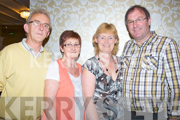 ENJOYING: Jerry and Eileen O'Brien (Killorglin) and Helen and Oliver Nash (Lyracrompane) who enjoyed the Charity dance in aid of the Kerry Cancer Care Socity Bus & Friends of the Kerry General Hospital, in the Earl of Desmond Hotel, Tralee on Friday night............