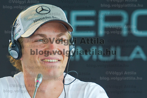 Formula One driver Nico Rosberg attends a Mercedes press conference in Fot, Hungary. Thursday, 29. July 2010. ATTILA VOLGYI