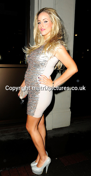 EXCLUSIVE ALL ROUND PICTURE: MATRIXPICTURES.CO.UK.PLEASE CREDIT ALL USES..WORLD RIGHTS..My Big Fat Gypsy Wedding star Danielle Mason is pictured wearing a tight dress revealing her baby bump for the first time, as she leaves the restaurant Nobu Berkeley in London...Danielle is 5 Months pregnant and has recently split up with her partner Tony, who is the Father of her child...FEBRUARY 5th 2013..REF: ASI 13767
