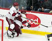 Colton Kerfoot (Harvard - 6), Eddie Ellis (Harvard - 7) - The visiting Colgate University Raiders shut out the Harvard University Crimson for a 2-0 win on Saturday, January 27, 2018, at Bright-Landry Hockey Center in Boston, Massachusetts.