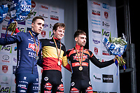 Podium Men's U23 race:<br /> <br /> 1st place: Toon Vandebosch (Pauwels Sauzen - Bingoal)<br /> 2nd place: Niels Vandeputte (Alpecin - Fenix)<br /> 3th place: Jelle Camps (Pauwels Sauzen - Bingoal)<br /> <br /> Men's U23 race<br /> Belgian National CX Championships<br /> Antwerp 2020