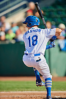 Rylan Bannon (18) of the Ogden Raptors bats against the Orem Owlz at Lindquist Field on September 10, 2017 in Ogden, Utah. Ogden defeated Orem 9-4. (Stephen Smith/Four Seam Images)