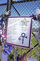 "Prince 1958-2016 R.I.P. ""Love Symbol"" Purple Rain poster First Ave Star. Paisley Park Studios Chanhassen Minnesota MN USA"