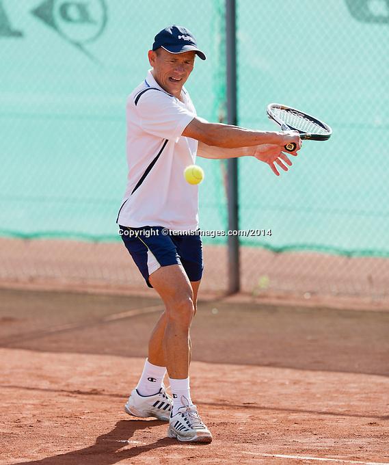 August 24, 2014, Netherlands, Amstelveen, De Kegel, National Veterans Championships, Jan Sie (NED)<br /> Photo: Tennisimages/Henk Koster