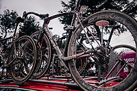 mudded bikes are loaded onto the team cars after the race<br /> <br /> 12th Strade Bianche 2018<br /> Siena &gt; Siena: 184km (ITALY)