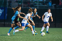 Allston, MA - Saturday, May 07, 2016: Chicago Red Stars forward Sofia Huerta (11) and Boston Breakers midfielder Angela Salem (26) during a regular season National Women's Soccer League (NWSL) match at Jordan Field.