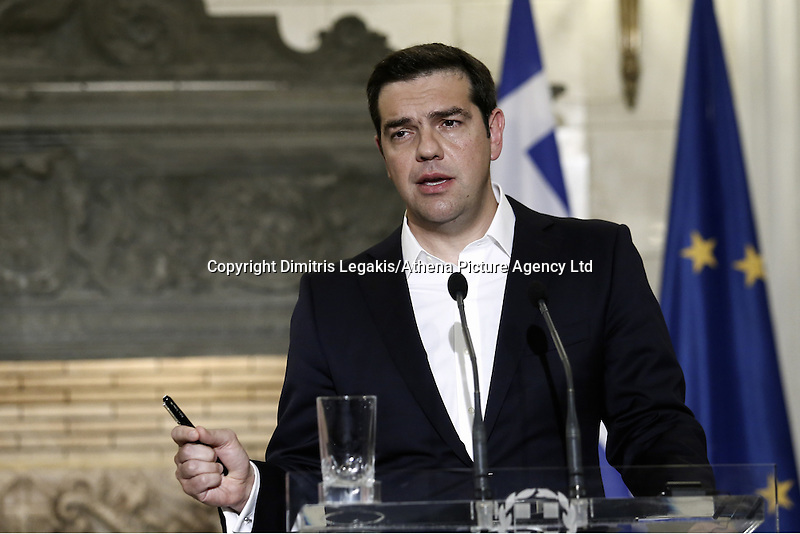 Pictured: Alexis Tsipras Friday 27 May 2016<br /> Re: Russian President Vladimir Putin with Greek Prime Minister Alexis Tsipras during a press conference at Maximou Mansion, Athens, Greece