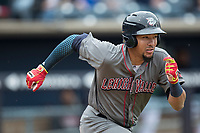 Lehigh Valley IronPigs shortstop JP Crawford (3) runs to first base against the Toledo Mud Hens during the International League baseball game on April 30, 2017 at Fifth Third Field in Toledo, Ohio. Toledo defeated Lehigh Valley 6-4. (Andrew Woolley/Four Seam Images)