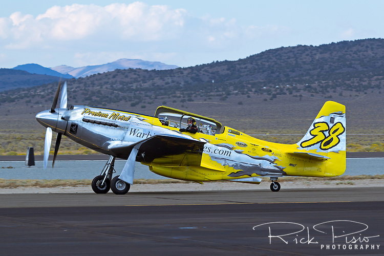"Unlimited Air Racer ""Precious Metal"" taxies after a heat race during the 2013 National Championship Air Races in Reno, Nevada."
