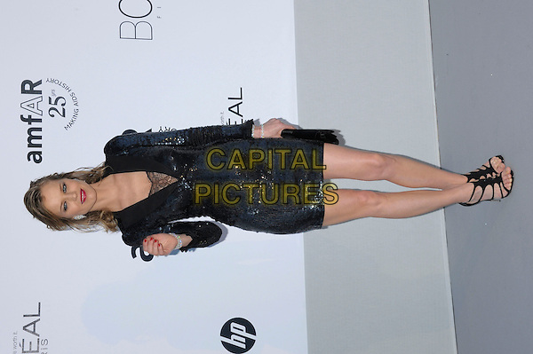 EVA HERZIGOVA.amfAR's Cinema Against AIDS Gala during the 64th Annual Cannes Film Festival at Hotel Du Cap, Antibes, France, May 19th, 2011..full length navy blue black dress sequined sequin lace low cut sleeves sandals clutch bag hand.CAP/PL.©Phil Loftus/Capital Pictures