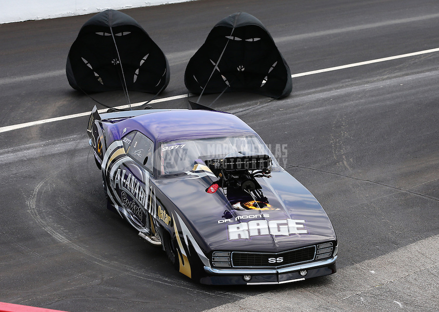 Aug. 31, 2013; Clermont, IN, USA: NHRA pro mod driver Von Smith during qualifying for the US Nationals at Lucas Oil Raceway. Mandatory Credit: Mark J. Rebilas-