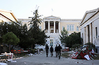 Pictured: The Athens Polytechinc in Athens Greece. Thursday 17 November 2016<br /> Re: 43rd anniversary of the Athens Polytechnic uprising of 1973 which was a massive demonstration of popular rejection of the Greek military junta of 1967&ndash;1974. The uprising began on November 14, 1973, escalated to an open anti-junta revolt and ended in bloodshed in the early morning of November 17 after a series of events starting with a tank crashing through the gates of the Polytechnic.