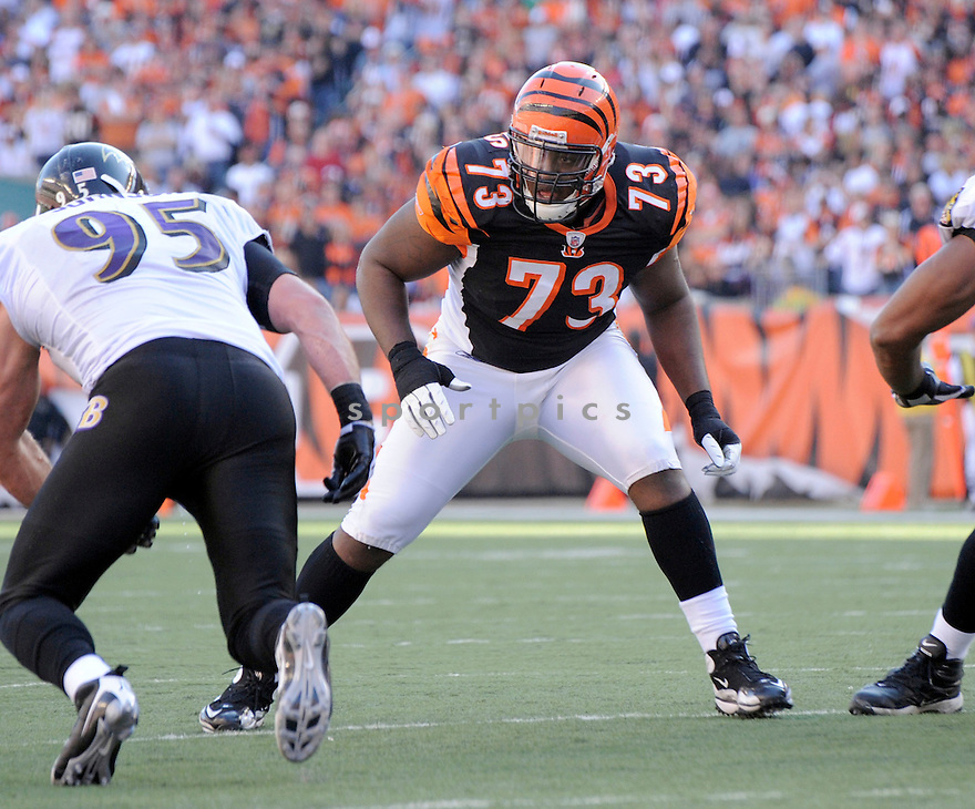 ANTHONY COLLINS, of the Cincinnati Bengals, in action during the Bengals game against the Baltimore Ravens on November 8, 2009 in Cincinnati, OH. Bengals won 17-7.