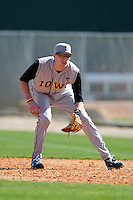 First baseman Phil Keppler #3 of the Iowa Hawkeyes during the Big East-Big Ten Challenge vs. the West Virginia Mountaineers at Jack Russell Stadium in Clearwater, Florida;  February 18, 2011.  West Virginia defeated Iowa 5-0 in both teams opening games of the season.  Photo By Mike Janes/Four Seam Images