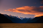 Looking up the Eglinton valley towards Pyramid & Ngatimamoe Peaks, Fiordland National Park, South Island, New Zealand.