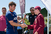 Winner of the  National Primary School Cup Final, Kings Prep, with Captain Nic Tapper receiving the trophy from Tom Latham   at the Bert Sutcliffe Oval, Lincoln University, Christchurch, New Zealand. Wednesday 22 November 2017. Photo: John Davidson/www.bwmedia.co.nz