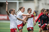 Seattle, WA - Saturday Aug. 27, 2016: Katherine Reynolds, Celeste Boureille, Emily Menges prior to a regular season National Women's Soccer League (NWSL) match between the Seattle Reign FC and the Portland Thorns FC at Memorial Stadium.