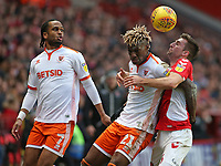 Blackpool's Armand Gnanduillet & Charlton Athletic's Ben Purrington battle for possession<br /> <br /> Photographer David Shipman/CameraSport<br /> <br /> The EFL Sky Bet League One - Charlton Athletic v Blackpool - Saturday 16th February 2019 - The Valley - London<br /> <br /> World Copyright © 2019 CameraSport. All rights reserved. 43 Linden Ave. Countesthorpe. Leicester. England. LE8 5PG - Tel: +44 (0) 116 277 4147 - admin@camerasport.com - www.camerasport.com