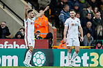 George Baldock of Sheffield United celebrates scoring his sides second goal of the game during the Premier League match at Carrow Road, Norwich. Picture date: 8th December 2019. Picture credit should read: James Wilson/Sportimage