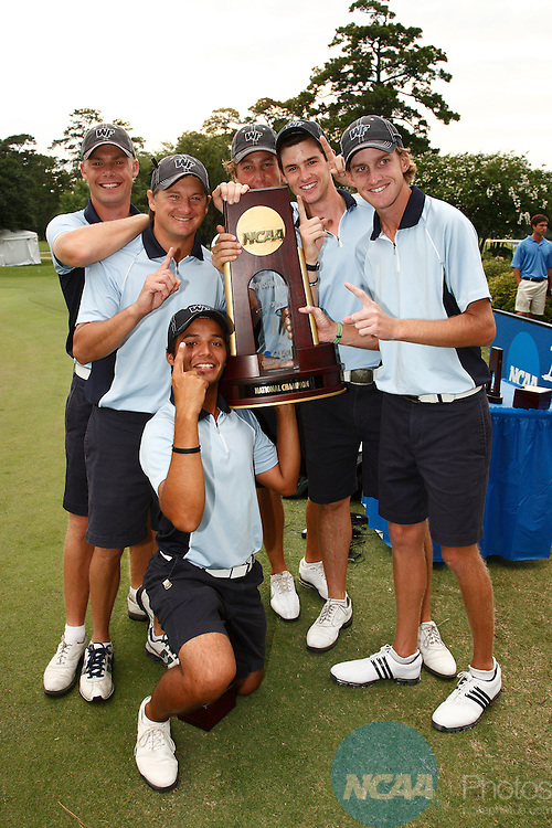 17 May 2008:  The University of West Florida celebrates their victory during the final round of the Division II Men's Golf Championship held at Memorial Park Golf Course in Houston, TX.  West Florida defeated the University of North Alabama and St. Edward's University in a three team playoff for the national title.  Dave Einsel/NCAA Photos