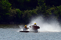 Frame 2: 40-M rides up the rooster tail of 20-M    (Outboard Hydroplane)