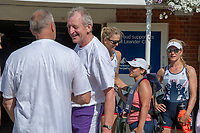 """Henley on Thames, United Kingdom, 3rd July 2018, Saturday,  """"Henley Royal Regatta"""",  Leander Club Olympians, Rowers after Leander 200 year row past, Left with back to camera Sir Steve REDGRAVE, centre Left Hugh MATTHESON, centre Victoria (Vicky) THORNLEY, right of centre Zoe DETOLEDO, right Katie GREVES, View, Henley Reach, River Thames, Thames Valley, England, UK"""