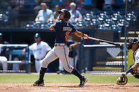 Omar Obregon (2) of the Rome Braves follows through on his swing against the Asheville Tourists at McCormick Field on July 26, 2015 in Asheville, North Carolina.  The Tourists defeated the Braves 16-4.  (Brian Westerholt/Four Seam Images)
